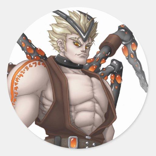Héroe del animado del mutante pegatina redonda
