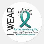Héroe del cáncer ovárico en mi cuñada 4 de la vida pegatina redonda