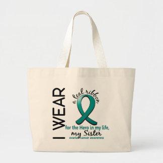 Héroe del cáncer ovárico en mi hermana 4 de la vid bolsas de mano