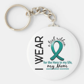 Héroe del cáncer ovárico en mi mamá 4 de la vida llaveros personalizados