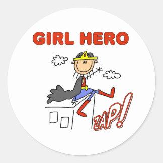 Héroe del chica en tejado pegatina