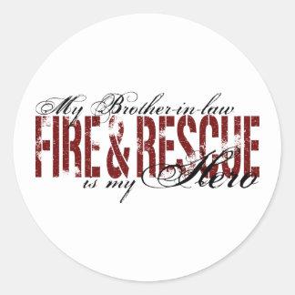 Héroe del cuñado - fuego y rescate pegatina redonda