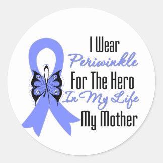 Héroe del esófago de la cinta del cáncer mi madre pegatina redonda