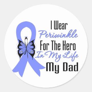 Héroe del esófago de la cinta del cáncer mi papá pegatina redonda