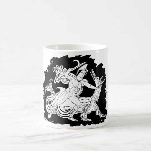 Héroe del griego clásico y el dragón tazas