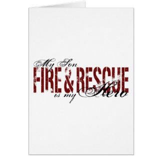 Héroe del hijo - fuego y rescate tarjeta de felicitación