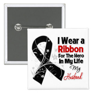 Héroe del marido en mi cáncer de piel de la vida pin cuadrada 5 cm