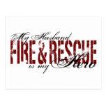 Héroe del marido - fuego y rescate postales