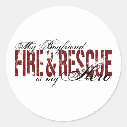 Héroe del novio - fuego y rescate pegatina redonda
