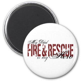 Héroe del papá - fuego y rescate imán redondo 5 cm