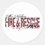 Héroe del sobrino - fuego y rescate etiquetas redondas