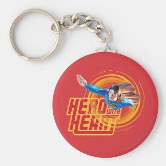 Héroe del superhombre con el corazón llavero personalizado