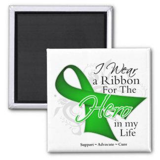 Héroe hepático de la cinta del cáncer en mi vida iman de nevera