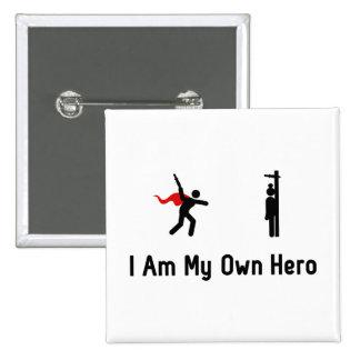 Héroe que lanza del cuchillo pin cuadrado