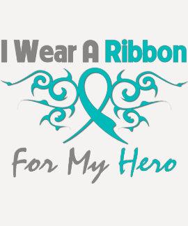 Héroe tribal de la cinta de Deco del cáncer ováric Camisetas