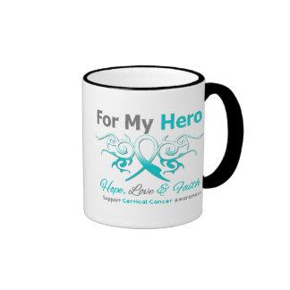 Héroe tribal de la cinta del cáncer de cuello del  tazas de café