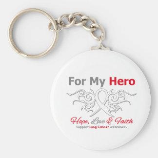 Héroe tribal de la cinta del cáncer de pulmón llavero personalizado