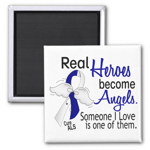 Heroes Become Angels ALS 2 Inch Square Magnet