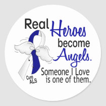 Heroes Become Angels ALS Classic Round Sticker