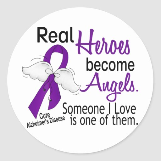 Heroes Become Angels Alzheimer's Disease Round Stickers