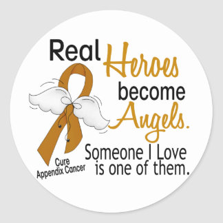 Heroes Become Angels Appendix Cancer Classic Round Sticker
