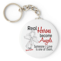 Heroes Become Angels Bone Cancer Keychain