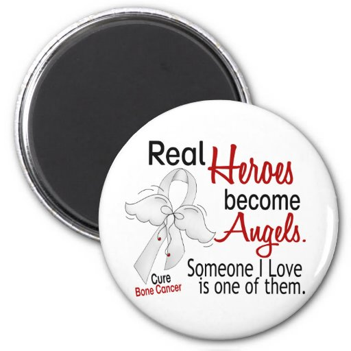 Heroes Become Angels Bone Cancer 2 Inch Round Magnet
