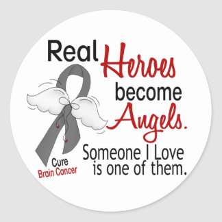 Heroes Become Angels Brain Cancer Classic Round Sticker