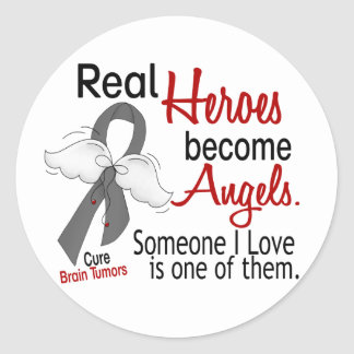 Heroes Become Angels Brain Tumor Round Sticker