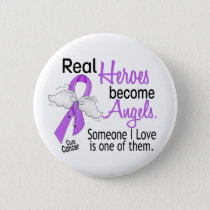 Heroes Become Angels Cancer Pinback Button