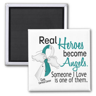 Heroes Become Angels Cervical Cancer 2 Inch Square Magnet