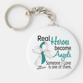 Heroes Become Angels Cervical Cancer Basic Round Button Keychain