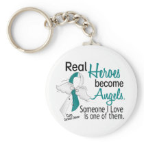Heroes Become Angels Cervical Cancer Keychain