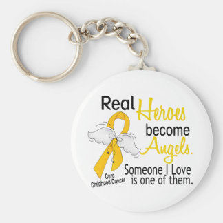 Heroes Become Angels Childhood Cancer Keychain