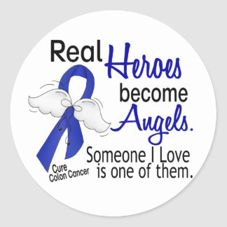 Heroes Become Angels Colon Cancer Classic Round Sticker