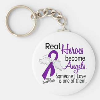 Heroes Become Angels Cystic Fibrosis Basic Round Button Keychain