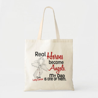 Heroes Become Angels Dad Lung Cancer Budget Tote Bag