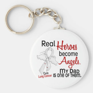 Heroes Become Angels Dad Lung Cancer Keychain