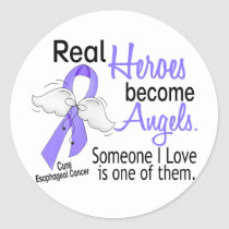 Heroes Become Angels Esophageal Cancer Classic Round Sticker