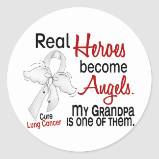 Heroes Become Angels Grandpa Lung Cancer Classic Round Sticker