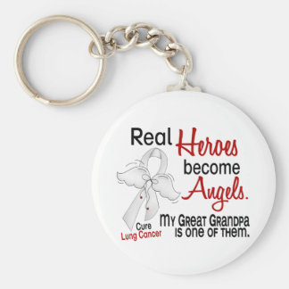 Heroes Become Angels Great Grandpa Lung Cancer Keychain