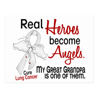 Heroes Become Angels Great Grandpa Lung Cancer Postcard
