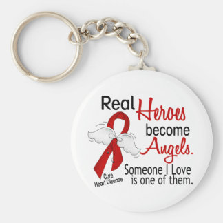 Heroes Become Angels Heart Disease Basic Round Button Keychain