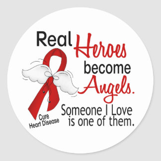 Heroes Become Angels Heart Disease Classic Round Sticker