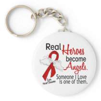 Heroes Become Angels Heart Disease Keychain