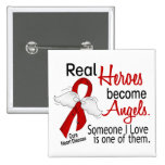 Heroes Become Angels Heart Disease Pinback Button