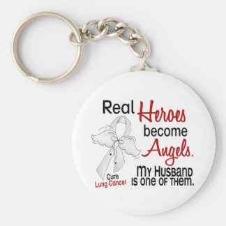 Heroes Become Angels Husband Lung Cancer Basic Round Button Keychain