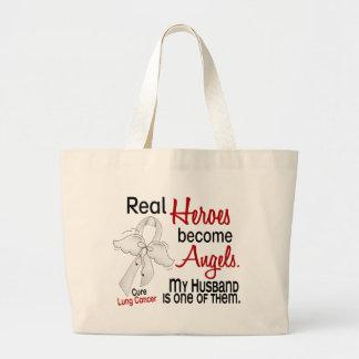 Heroes Become Angels Husband Lung Cancer Jumbo Tote Bag