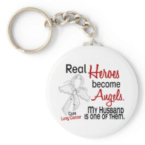Heroes Become Angels Husband Lung Cancer Keychain