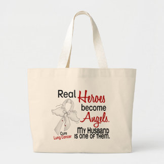 Heroes Become Angels Husband Lung Cancer Large Tote Bag